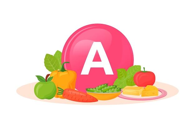 Produkty bogate w ilustrację kreskówki witaminy a. świeża papryka i marchewka. groch i świeży pomidor. obiekt koloru sera i zieleni. produkty wegetariańskie na białym tle