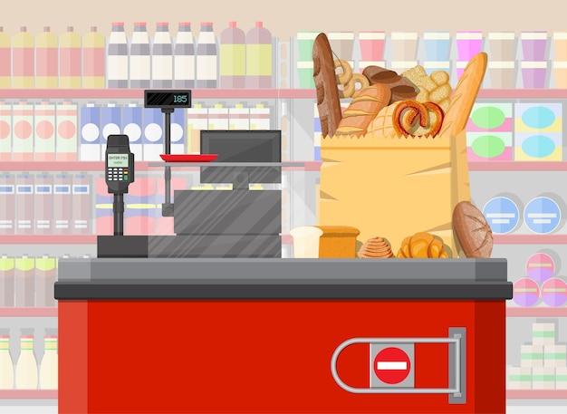 Produkty chlebowe w kasie torby na zakupy. wnętrze supermarketu. chleb pełnoziarnisty pszenno-żytni, tost, precel, ciabatta, croissant, bajgiel, bagietka francuska, bułka cynamonowa. płaska ilustracja wektorowa