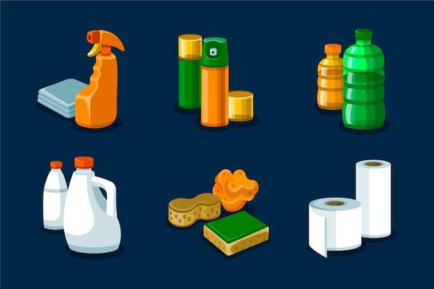 Produkty do czyszczenia powierzchni izolowane na ciemnej tapecie
