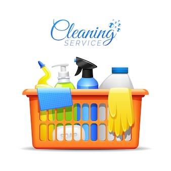 Produkty do czyszczenia w gospodarstwie domowym w ilustracji koszyka