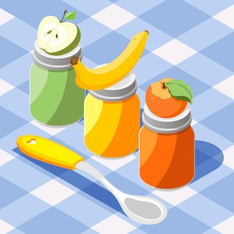 Produkty do karmienia dzieci izometryczny kolorowa kompozycja z jabłkiem bananowym brzoskwiniowym przecierem owocowym słoiki obrus ilustracja