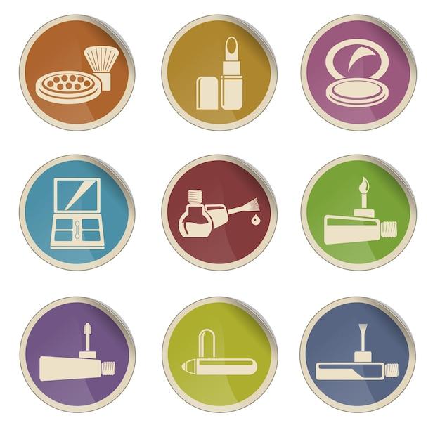 Produkty do makijażu wektorowe ikony sieci web