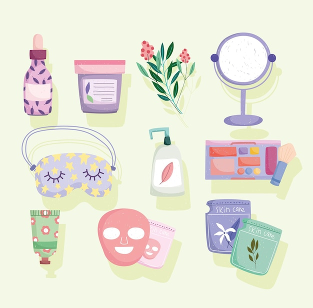 Produkty do pielęgnacji skóry organiczne ikony makijaż