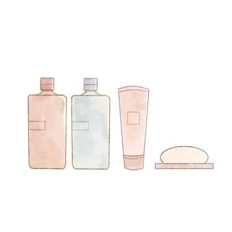 Produkty do pielęgnacji skóry w podróży. na białym tle.