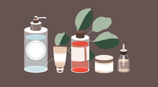 Produkty do pielęgnacji skóry zestaw ręcznie rysowane płynnych kosmetyków. kobiece kosmetyki. i eukaliptus. nowoczesny design do salonu spa,