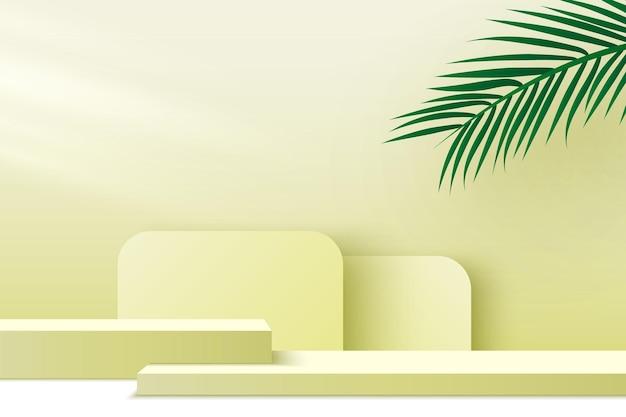 Produkty ekspozycyjne podium platformy z liśćmi palmowymi 3d render sceniczny cokół stoisko wystawowe