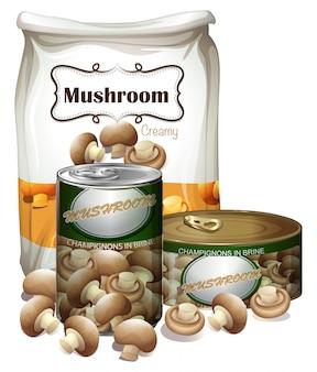 Produkty grzybowe w różnych opakowaniach
