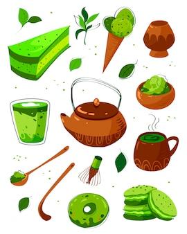 Produkty herbaciane matcha. matcha w proszku, latte, makaroniki, dzbanek do herbaty, łyżka bambusowa, liście herbaty. matcha zielonej herbaty w proszku i sprzęt ręcznie rysowane ilustracje zestaw. japoński tradycyjny napój wektor