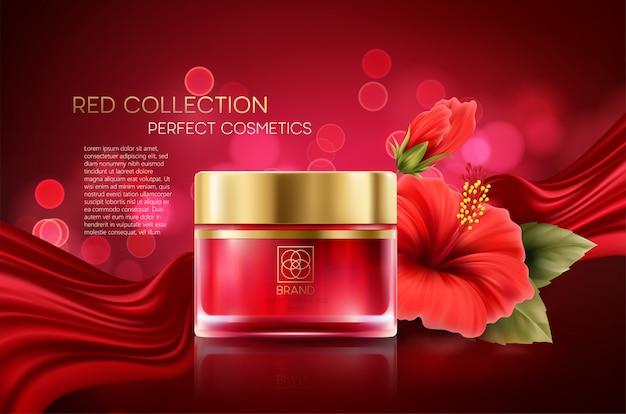 Produkty kosmetyczne z luksusowych kompozycji składu na czerwonym tle niewyraźne bokeh z kwiatem hibiskusa.