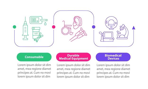 Produkty medyczne wektor plansza szablon. prezentacja pomocy humanitarnej zarys elementów projektu. wizualizacja danych w 3 krokach. wykres informacyjny osi czasu procesu. układ przepływu pracy z ikonami linii