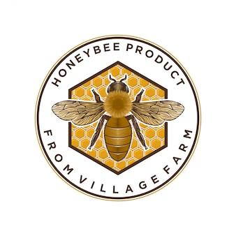 Produkty miodu lub logo farm pszczół miodnych