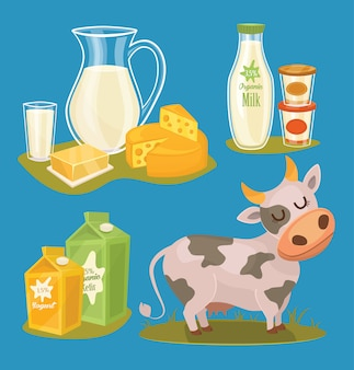 Produkty mleczne na białym tle