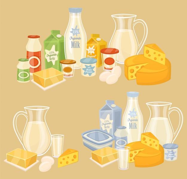 Produkty mleczne na drewnianym stole, mleko, ikona