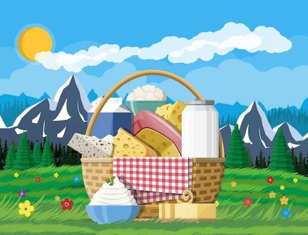Produkty mleczne w koszyku. zbiór pokarmów mlecznych. mleko, ser, masło, śmietana, twaróg, śmietana. górski krajobraz przyrody. tradycyjne produkty rolne. wektor ilustracja płaski styl