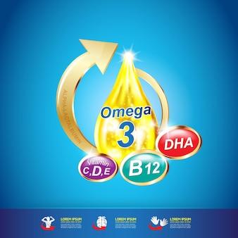 Produkty omega nutrition and vitamin logo dla dzieci.