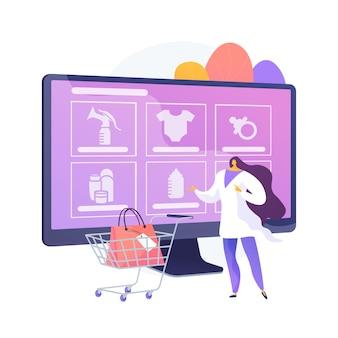 Produkty opieki macierzyńskiej abstrakcyjne pojęcie ilustracji wektorowych. specjalne produkty dla kobiet w ciąży, zdrowe naturalne kosmetyki, czyste produkty do pielęgnacji skóry w ciąży, abstrakcyjna metafora pielęgnacji skóry noworodka.
