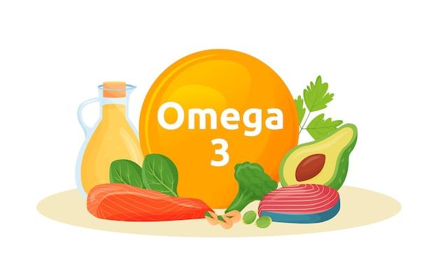Produkty osiągają ilustracja kreskówka omega 3