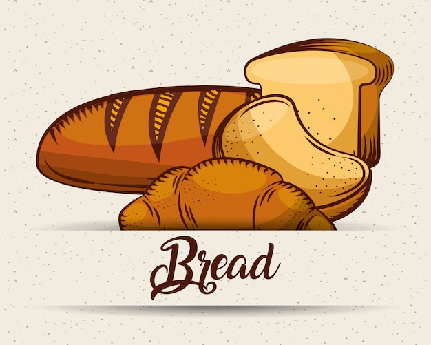 Produkty piekarnicze chleb szablon obrazu żywności