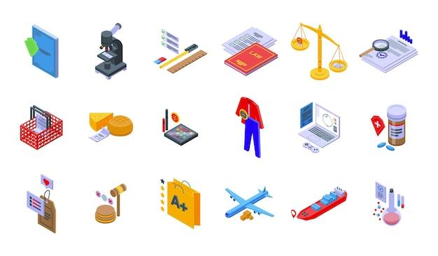 Produkty regulowane ikony zestaw izometryczny wektor. kontrola jakości