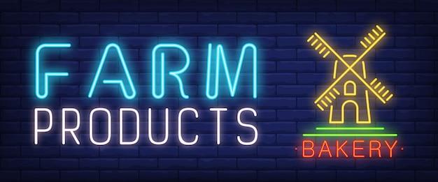 Produkty rolne tekst neon z wiatrak