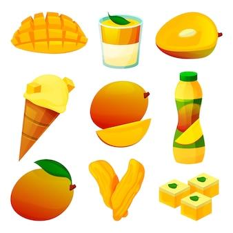 Produkty spożywcze z owocami mango