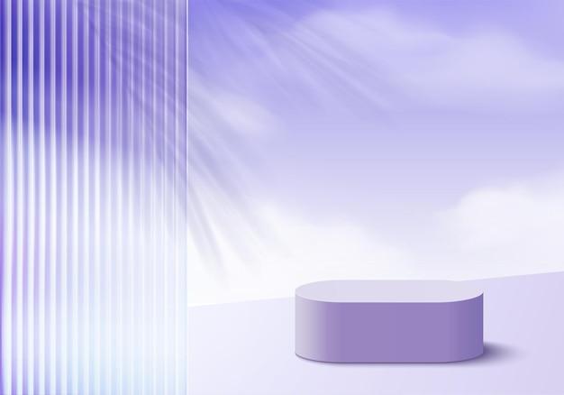 Produkty w tle 3d wyświetlają scenę podium z fioletową platformą. tło wektor renderowania 3d z podium. stoisko do prezentacji produktów kosmetycznych. prezentacja sceniczna na cokole fioletowym studio