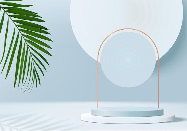 Produkty w tle 3d wyświetlają scenę podium z platformą liści
