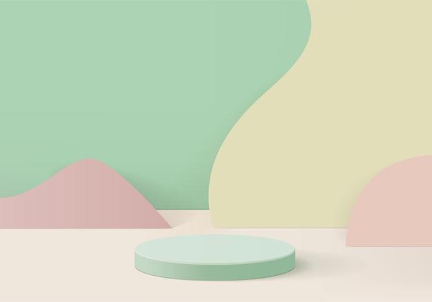 Produkty w tle wyświetlają scenę podium z geometryczną platformą. renderowania tła z podium. stoisko do pokazania produktów kosmetycznych. prezentacja sceniczna na cokole display green studio