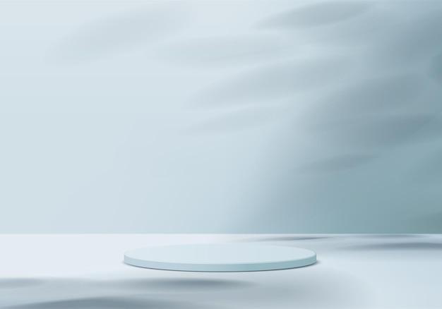Produkty w tle wyświetlają scenę podium z geometryczną platformą. renderowania tła z podium. stoisko do pokazania produktów kosmetycznych. prezentacja sceniczna na wystawie postumentowej blue studio