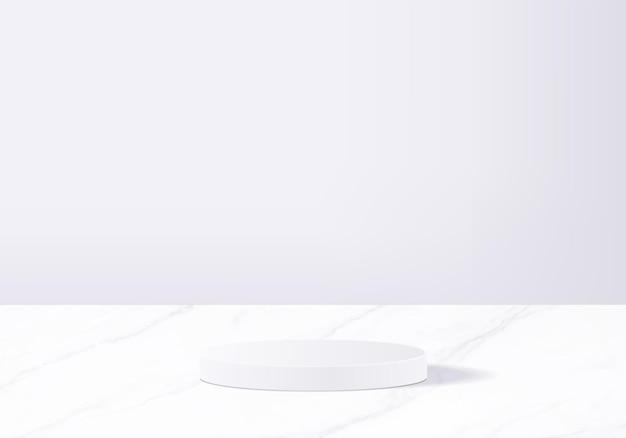 Produkty w tle wyświetlają scenę podium z geometryczną platformą. renderowania tła z podium. stoisko do pokazania produktów kosmetycznych. prezentacja sceniczna na wystawie postumentowej white studio