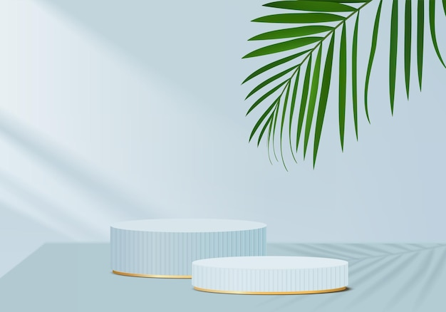 Produkty w tle wyświetlają scenę podium z geometryczną platformą zielonych liści. renderowanie tła z podium. stoisko do pokazania produktów kosmetycznych. prezentacja sceniczna na wystawie postumentowej blue studio