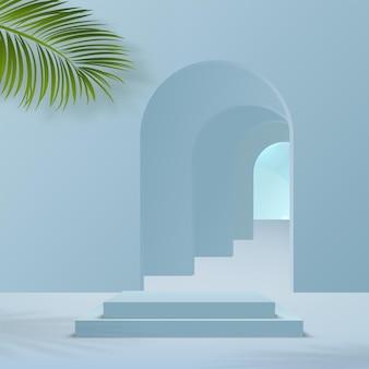 Produkty wyświetlają trójwymiarową scenę podium w tle z chmurą nieba i platformą geometryczną w niebieskim kształcie. ilustracja wektorowa.