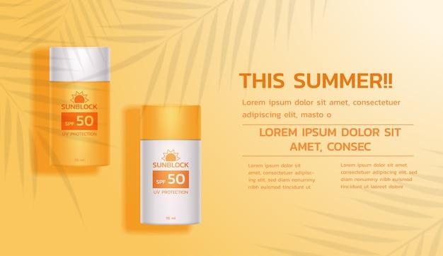 Produkty z filtrem przeciwsłonecznym na żółtym tle