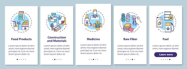 Produkty z konopi wprowadzające ekran strony aplikacji mobilnej z koncepcjami. konopie indyjskie w medycynie i budownictwie opis przejścia 5 kroków instrukcji graficznych. szablon wektorowy interfejsu użytkownika z kolorowymi ilustracjami rgb