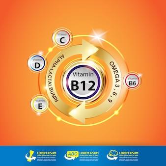 Produkty z witaminą b12 i logo omega dla dzieci.