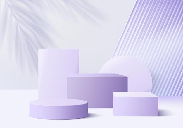 Produkty ze szkła 3d wyświetlają scenę podium z fioletową platformą. tło wektor renderowania 3d z podium. stoisko do prezentacji produktów kosmetycznych. prezentacja sceniczna na cokole fioletowym studio