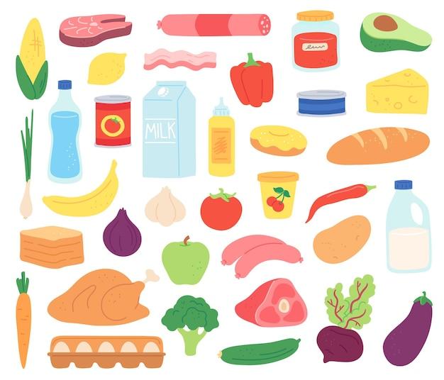 Produkty żywieniowe. naturalne mięso, nabiał, ekologiczne owoce i warzywa, desery i pieczywo. towar w opakowaniu i może, płaski wektor zestaw. naturalny posiłek i produkt, zdrowe odżywianie i świeża ilustracja