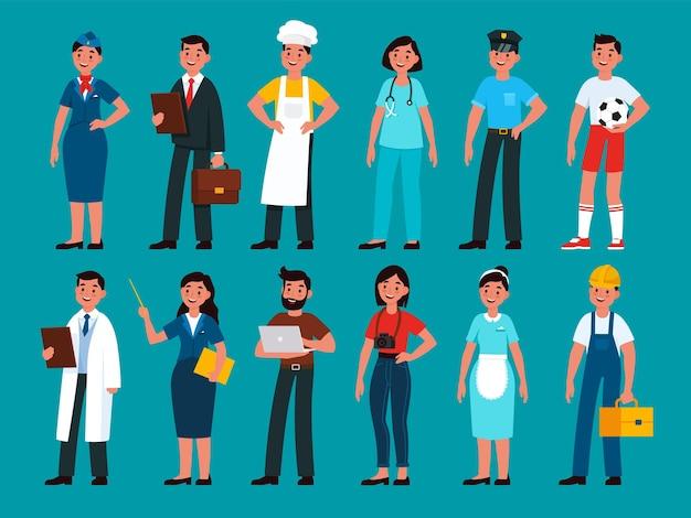 Profesjonaliści. budowniczy i policjant, stewardessa i nauczyciel, programista i biznesmen, szef kuchni i lekarz, fotograf, pielęgniarka piłkarz i ludzie gospodyni w jednolitym wektorze płaski zestaw kreskówek