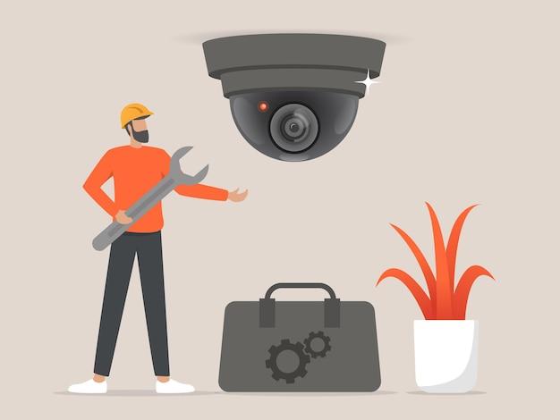 Profesjonaliści instalujący kamery cctv lub monitoringu