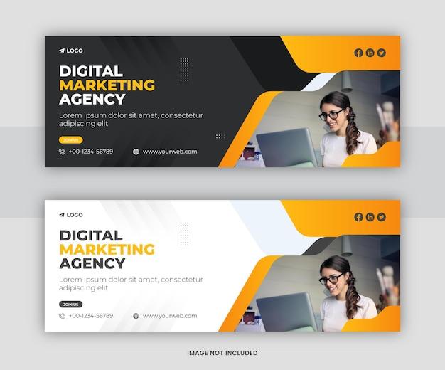 Profesjonalna agencja marketingu cyfrowego facebook okładka szablonu projektu