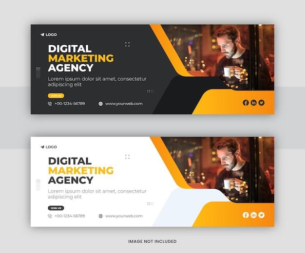 Profesjonalna agencja marketingu cyfrowego facebook timeline okładka szablonu projektu