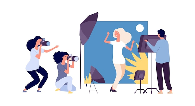 Profesjonalna fotografia. model pozy dla fotografów dla magazynu lub banera w studio. stylowa dziewczyna robienia ilustracji wektorowych zdjęć. profesjonalna modelka, sesja fotograficzna
