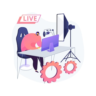 Profesjonalna ilustracja koncepcja streszczenie livestream. profesjonalne transmisje wydarzeń online, usługi nadawcze, sprzęt do transmisji na żywo, oprogramowanie, nadawanie na żywo w czasie rzeczywistym