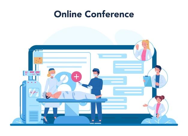 Profesjonalna internetowa usługa lub platforma onkologiczna. diagnostyka i leczenie chorób nowotworowych. konferencja online.