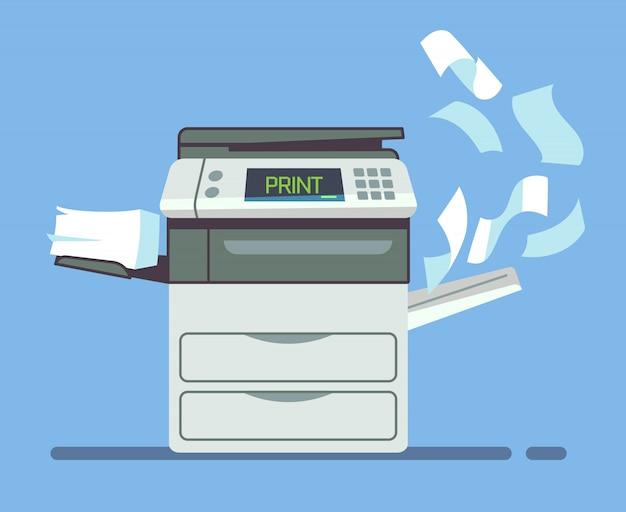 Profesjonalna kopiarka biurowa, drukarka wielofunkcyjna dokumenty papierowe na białym tle ilustracji wektorowych. drukarka i kopiarka do prac biurowych
