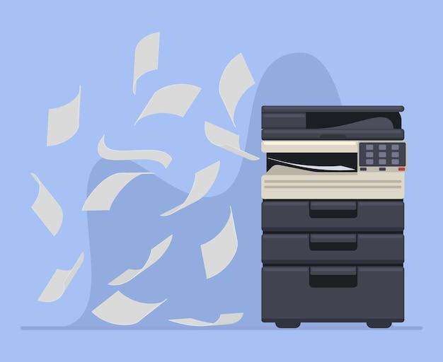 Profesjonalna kopiarka lub drukarka biurowa do drukowania dokumentów. drukarki biurowej pracy wielofunkcyjnej maszyny drukarskiej ilustracji wektorowych. drukarka drukująca dokumenty papierowe