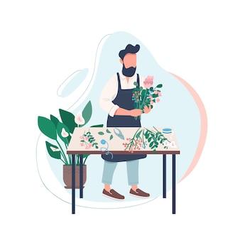 Profesjonalna kwiaciarnia bez twarzy. mężczyzna układa kwiaty. mężczyzna ogrodnik. twórcze hobby. warsztaty florystyczne na białym tle ilustracja kreskówka do projektowania grafiki internetowej i animacji