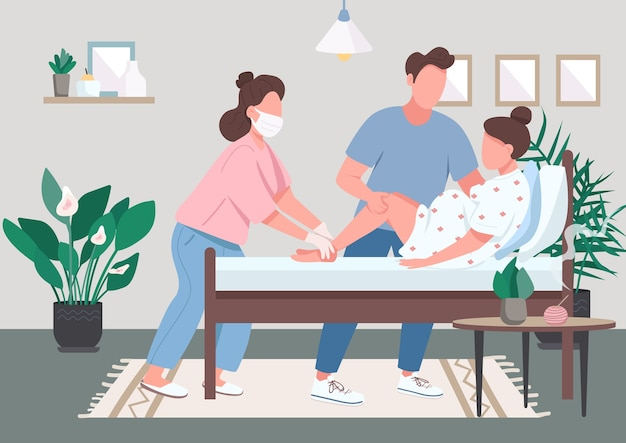 Profesjonalna położna płaski kolor. alternatywne porody w domu. naturalna praca. pomoc doula. młoda para podczas porodu postaci z kreskówek 2d z wnętrzem na tle
