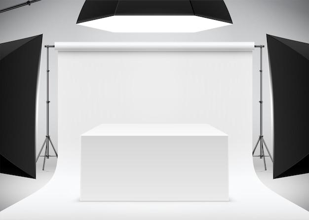 Profesjonalna scena zdjęciowa produktu z realistyczną ilustracją wektorową stołu w białym pudełku