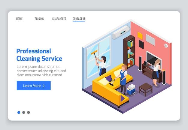 Profesjonalna usługa sprzątania izometryczna strona docelowa witryny internetowej z tekstem pracowników składu wnętrz i klikalnymi linkami
